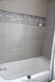 Niche Bathroom Shower Bathroom With Bathtub And Gray Subway Tile Shower Surround With