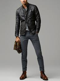 men s black quilted leather er jacket grey crew neck sweater charcoal wool dress pants dark brown leather dress boots men s fashion