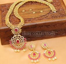 long necklace sets images Designer cz ruby long necklace set with earrings american diamond jpg