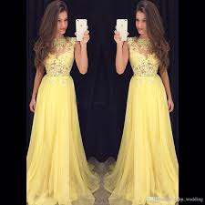 light yellow prom dresses 2017 light yellow chiffon lace prom dress sweep train sheer neck