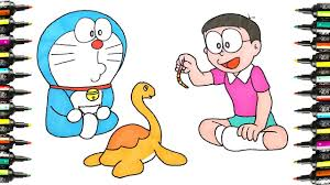 draw and coloring pages doraemon play with turtles five little