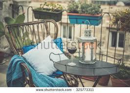 beautiful terrace balcony small table chair stock photo 282159770
