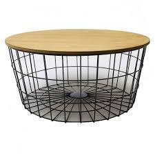 grand bout de canapé table basse corbeille en fer noir et bois