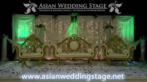 green lights and gold wedding stage