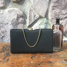 vintage 50s style black satin purse small clutch bag gold