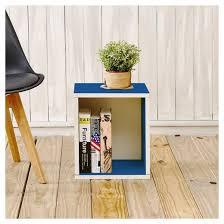way basics stackable eco storage cube cubby organizer blue