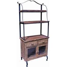 Bakers Rack With Wheels Groovystuff Teak Wood Bakers Rack U0026 Cabinet Tf 334 Bakers Rack