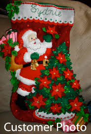 bucilla christmasg kits santa poinsettia