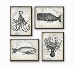 whales and octupuses antique art print set of 4 marine home
