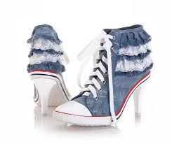 designer stiletto heels sapatos femininos lace trim blue denim ankle boots stiletto