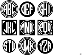 three letter monogram identifont circle monograms three black