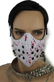 white halloween mask white faux leather hannibal blood spikes mouth muzzle s u0026m face