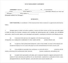 artist management contract template best resumes