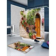 3d street flower door pattern waterproof shower curtain colorful