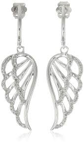 wing earrings 10k white gold diamond angel wing earrings 1 5 cttw