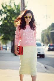 casual pencil skirt chic casual style sweatshirt and lace pencil skirt hallie daily