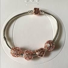 rose gold love heart bracelet images Pandora rose bracelet set pandora rose bracelet and 3 charms as jpg