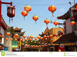 Chinatown Los Angeles Map by Hanging Red Lanterns In Chinatown Los Angeles Editorial Image