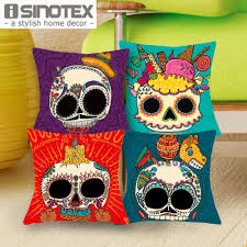 1 pcs font b 43 b font 43cm cute color suger skull cushions linen cushion cover jpg