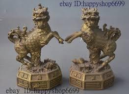 qilin statue ancient folk bronze wealth feng shui kylin chi qilin