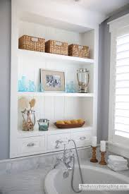 bathroom shelf idea master bathroom shelves tub the sunny side up blog