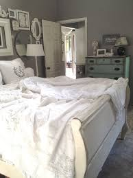 Steely Light Blue Bedroom Walls Wide Plank Rustic Wood by White Linens Gray Walls This Makes Me Want To Paint My Sleigh