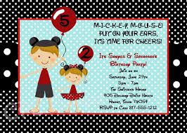 twin or siblings minnie and mickey mouse birthday invitations