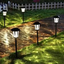 Led Pathway Landscape Lighting 25 H Large Outdoor Solar Led Pathway Landscape Lights In Black