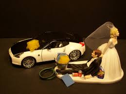z cake toppers auto car wash nissan 370 z and groom wedding cake topper