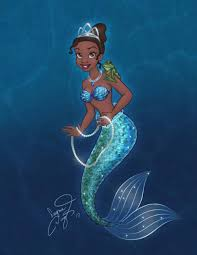 mermaid tiana disney princess fan art disneyart