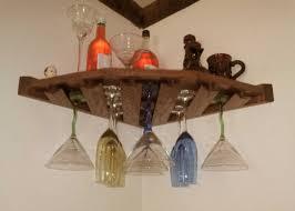corner wine glass rack with reclaimed wood wall mounted rack
