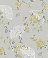 Chinese Fan Wall Decor by Holden Decor K2 Glitter Oriental Fan Grey Lime Wallpaper 11572