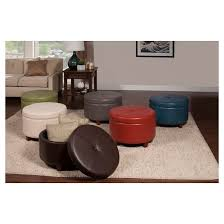 homepop large faux leather round storage ottoman teal target