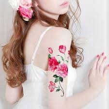 1pc peony flower big temporary tattoo fake tattoo body art