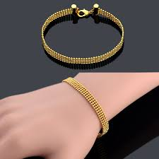chain link bracelet charms images Ball bead chain link bracelet femme male punk gold plated cheap jpg