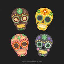 dia de los muertos sugar skulls mexican sugar skull dia de los muertos set vector free