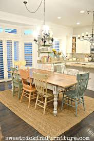 excellent farmhouse table and mismatched chairs painted with sweet