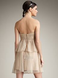 cheap column beige strapless pleated and bowkot embellishmnet