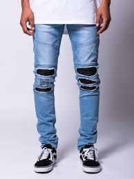 mens light blue jeans skinny jigsaw slim skinny biker jean light blue