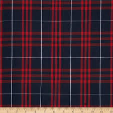 poly cotton plaid navy white discount designer
