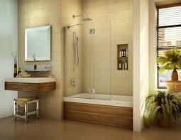 minimalist nathroom with white tub surrounding at brown ceramic