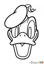 draw donald duck face cartoon characters