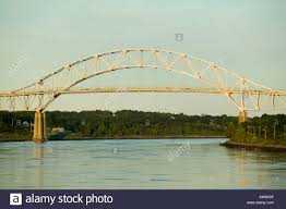 bourne bridge over cape cod canal bourne massachusetts stock photo