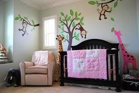 Jungle Nursery Curtains Animal Theme Baby Nursery With Peach Curtains And Wall Murals
