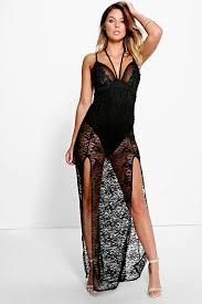 aisha lace sheer applique detail maxi dress boohoo