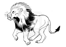 african lion outline tattoo design