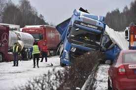 czech highway closed amid heavy snow multiple car crashes the