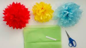 Yellow Pom Pom Flowers - how to make tissue paper pom pom flowers in 4 easy steps youtube
