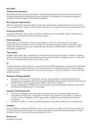 Sample Of Key Skills In Resume by Example Chronological Cv