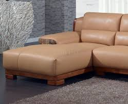 Camel Sectional Sofa Leatherette Modern Sectional Sofa W Block Wooden Legs
